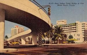 Miami Beach Florida New Indian Creek Bridge Art Deco Antique Postcard K34929