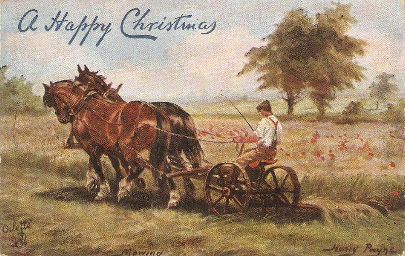 Harry Payne. Mowing. Horses  Tuck Oilette British Pastures Ser. PC # 9222