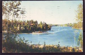 P1426 1958 used postcard boat dock sioux narrows lake of woods kenora canada