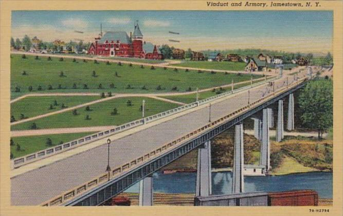 New York Jamestown Viaduct and Armory 1946 Curteich