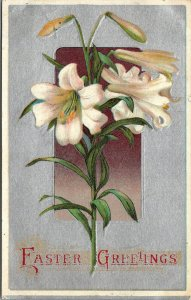 Easter Greetings Beautiful -  Easter Lilies Antique PC - SILVER - POSTCARD