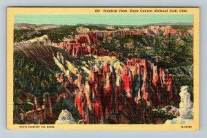 Bryce Canyon UT-Utah, Rainbow Point at National Park, Linen Postcard