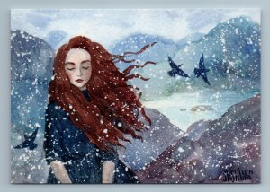 PRETTY GIRL with Long Hair Wind and Snow Winter Birds Lake Russian New Postcard