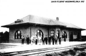 Woodward Oklahoma Santa Fe Depot Real Photo Vintage Postcard K101018
