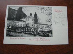 Turkey Postcard 1902? UBD Unused Hotel Anatolie Bursa