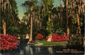 Cypress Gardens, Florida, FL, Reflection Pool, 1946 Linen POSTED Postcard