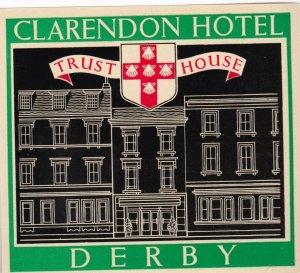 England Derby Clarendon Hotel Vintage Luggage Label lbl0234