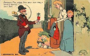 Tom Browne~Johnny's Ma~Swaps Pa's Best Suit for Peddler's Potted Plant~1907 PC