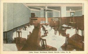 Cafe Great Northern Hotel Devil's Lake North Dakota 1920s Postcard Kropp 4257