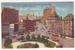 P339 JLs 1947 postcard albany ny state st to capitol office buildings buses cars
