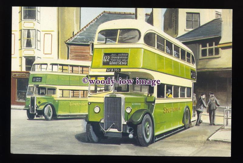 tm6662 - Green Southdown Buses at a Bus Station - Artist - G.S.Cooper - postcard