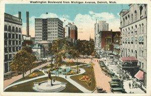 Postcard Washington Boulevard from Michigan Avenue Detroit Michigan