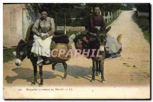 Old Postcard Folklore Basquaises going to walk Donkey Mule