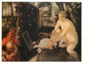 Postcard painting reproduction Tintoretto Sussana and the elders