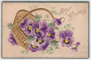 Freeport IL Vanderate Pansies Basket Hand Painted Embossed Vintage Postcard A42