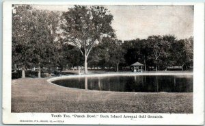 1910 Rock Island, Illinois Postcard 10th Tee, Punch Bowl Arsenal Golf Grounds