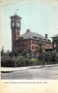 Menomonie Wisconsin~Stout's Manual Training School~Clock Tower~1908 Postcard