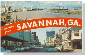 Striking Savannah, Georgia/GA Postcard, Greetings, Multi-View, 1950's?