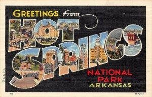 LP32 Large Letter Hot Springs Arkansas National Park  Postcard