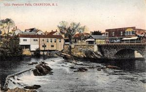 Cranston Rhode Island~Pawtuxet Falls~Bridge~Mian Street~Benson's~1910 Postcard