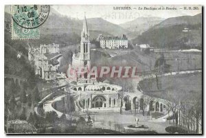 Old Postcard Lourdes Basilica and the Rosary