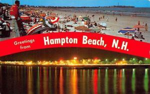 Hampton Beach New Hampshire~Banner Greetings~Beach~Neon Night Lights~1970s PC