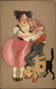 Buxom Woman Squeezes Skinny Man to Breast - Cat Butt c1910 Postcard