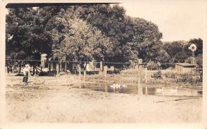 Spring Lake IA~Farmer's Wife by Duck Pond~Windmill~Barb-Wire Fence RPPC c1916