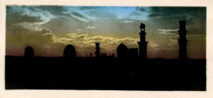 Egypt - Cairo.   Tombs of the Mamelouks at Sunset *RPPC  (2.75 X 5.875)