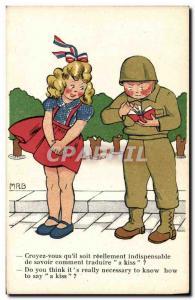 Postcard Modern Woman Army Soldier