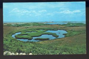 Block Island, Rhode Island/RI Postcard, Fresh Water Pond, Coast Guard Station