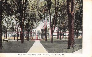 Woodstock Illinois~Park Fountain~Bandstand~East Side Public Square~1907 Postcard