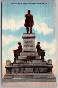 Postcard Atlanta GA c1946 Henry W. Grady Monument Confederate