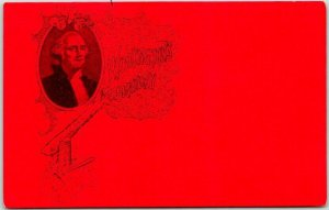 Vintage WASHINGTON'S BIRTHDAY Greetings Postcard Cherry Tree / Portrait c1910s