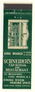 Long Branch,New Jersey/NJ Matchcover, Schneider's Restaurant