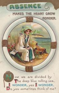 Absence Makes The Heart Go Stronger Lifebuoy Sailor Old Antique Romance Postcard