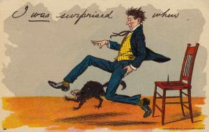 Comic: 1900-10s; I was surprised when...Man sat on tack and jumps up, AS; BIEN