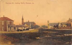 Remsen Iowa~Harrison Street Looking North~Churches~Homes~Muddy Dirt Road~1909