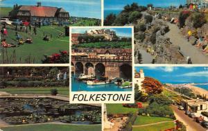 Folkestone East Cliff Inner Harbour Zig-Zag Path The Leas Gardens Postcard