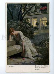 189475 Lonely BELLE Lady in Garden by Fritz HAGEN Vintage PC