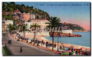 Postcard Old Nice Le Quai des Etats Unis and Mont Boron