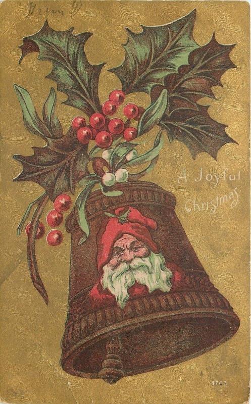 Christmassanta On Bellred Robeholly Sprig On Hoodmistletoe