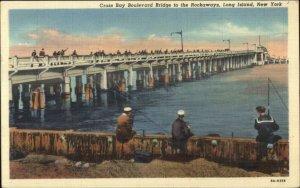 Cross Bay Boulevard Bridge Rockaways Long Island NY Linen Postcard