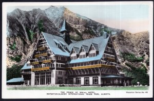 AB Prince of Wales Hotel Waterton-Glacier Inter Peace Park Hand Coloured RPPC