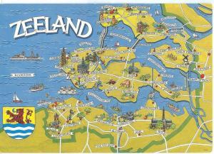 Netherlands, Zeeland, map, 1989 used Postcard