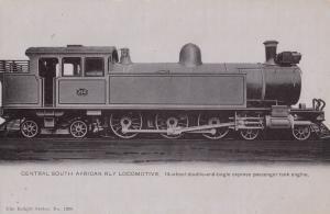South African Central Railway 260 Locomotive 14 Wheel Antique Train Postcard