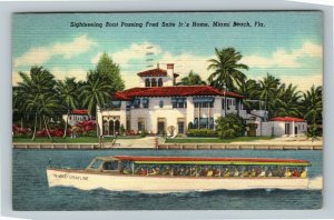 Miami FL-Florida,Sightseeing Boat on Bay,Fred Snite Jr Home,Linen c1949 Postcard