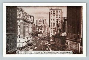 New York NY-New York, Hotel Astor, Aerial View, Chrome Postcard