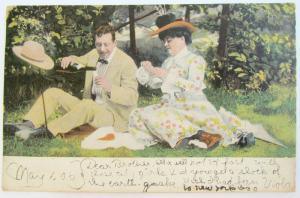 1906 Antik Romantische Postkarte - Picknick Liebespaar