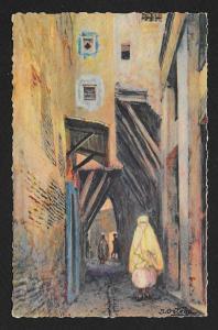 Muslim Woman on Street Algiers Algeria Unused c1930s